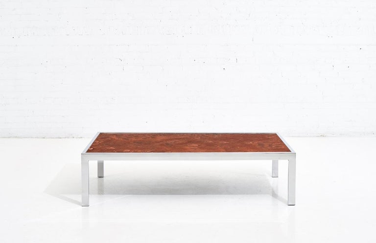 Pace collection copper and chrome coffee table, 1970.