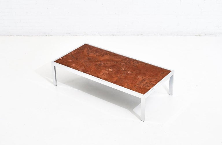 North American Pace Collection Copper and Chrome Coffee Table, 1970 For Sale