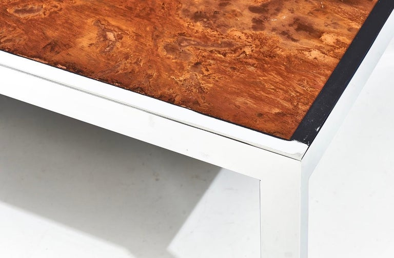 Pace Collection Copper and Chrome Coffee Table, 1970 In Good Condition For Sale In Chicago, IL