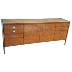 Pace Collection Custom Made Burled Olive and Chrome Credenza