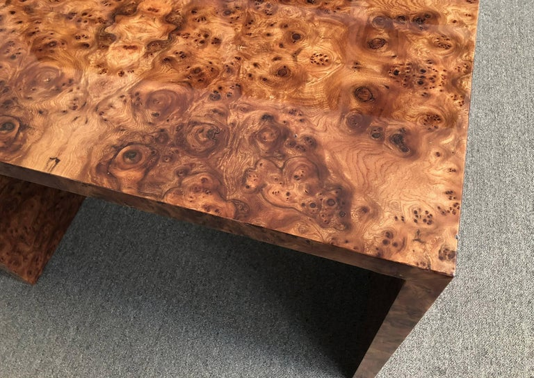 Pace collection desk or console table designed by Leon Rosen. Beautiful walnut burl wood with a durable finish.