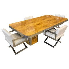 Pace Collection Dining Table and Chairs in Burl Maple and Chrome