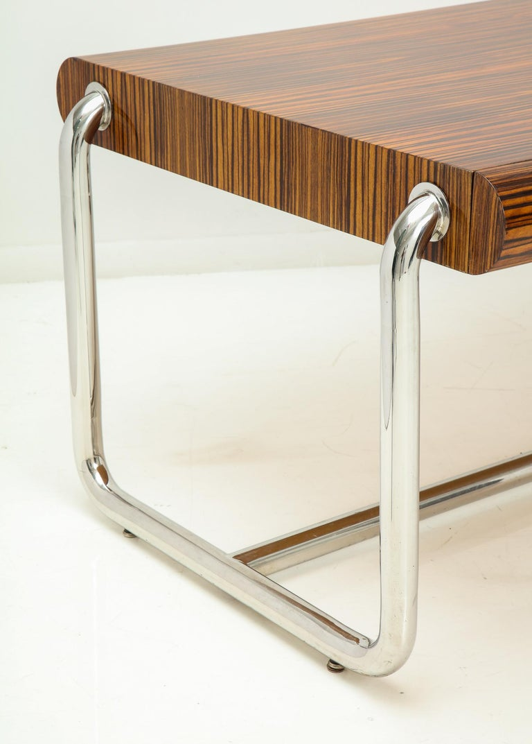 Pace Collection Executive Desk in Macassar and Chrome For Sale 4