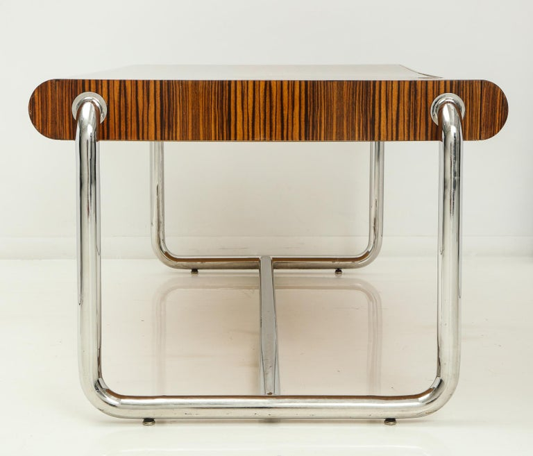 Mid-Century Modern Pace Collection Executive Desk in Macassar and Chrome For Sale