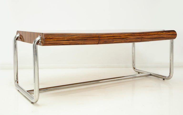 American Pace Collection Executive Desk in Macassar and Chrome For Sale