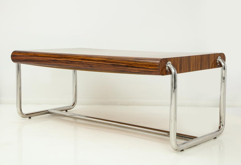 Pace Collection Executive Desk in Macassar and Chrome In Good Condition For Sale In New York, NY
