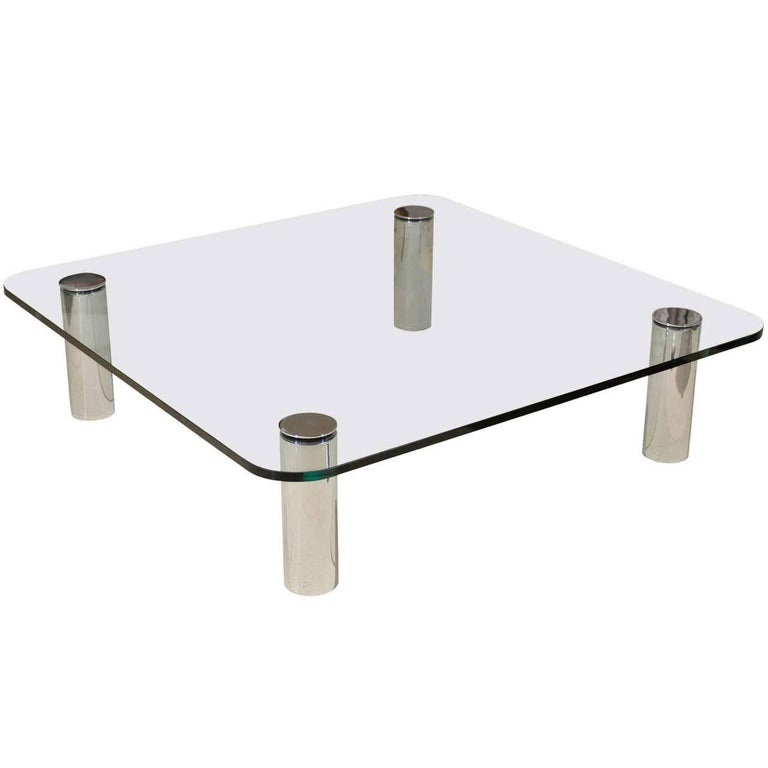 Pace Collection Glass and Chrome Coffee Table, Italy, 1970s