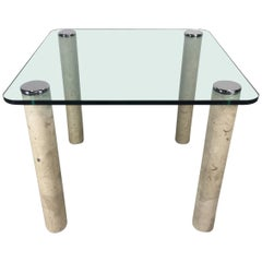Pace Collection Glass and Marble Card Table Midcentury
