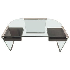 Pace Collection Glass and Metal Desk with Lucite Drawers