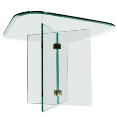 Pace Collection Glass Panel and Brass Square Side Table by Leon Rosen