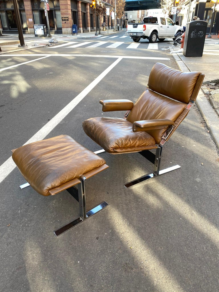 Richard Hersberger for the Pace Collection leather lounge chair and ottoman. This lounger defines comfort! Feels like slipping into a worn leather glove! All original, leather shows patina and wear that would be expected for a 50 year old chair. No