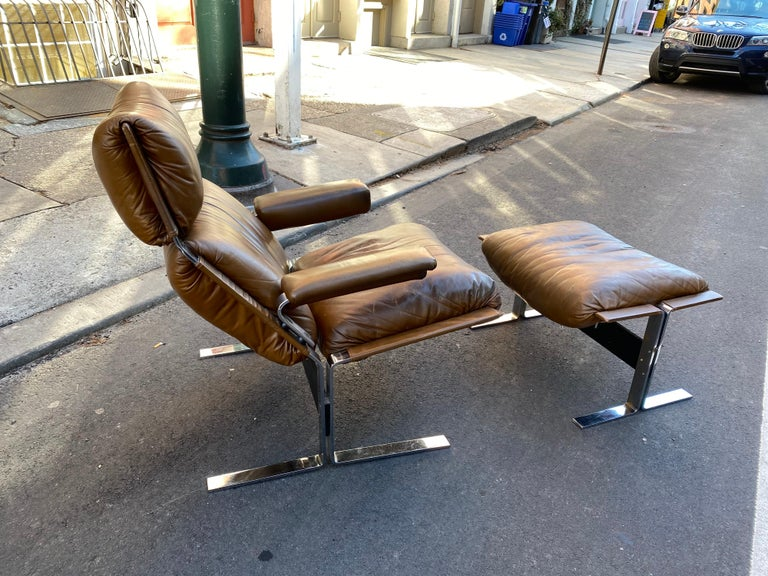 Mid-Century Modern Pace Collection Lounge Chair and Ottoman Designed by Richard Hersberger