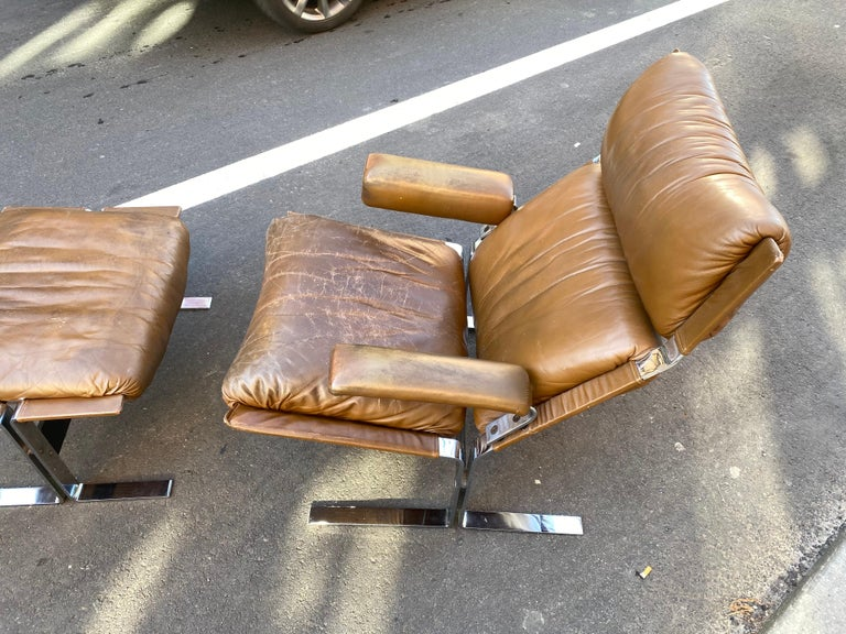 Leather Pace Collection Lounge Chair and Ottoman Designed by Richard Hersberger