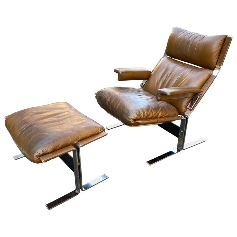 Pace Collection Lounge Chair and Ottoman Designed by Richard Hersberger