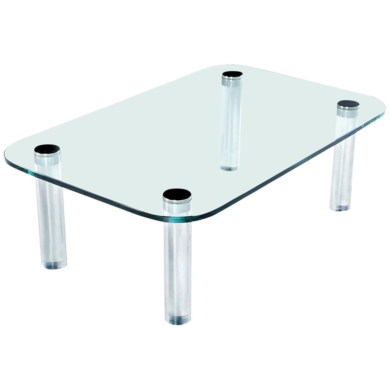 Pace Collection Lucite Chrome Screw Leg and Glass Coffee Table by Leon Rosen