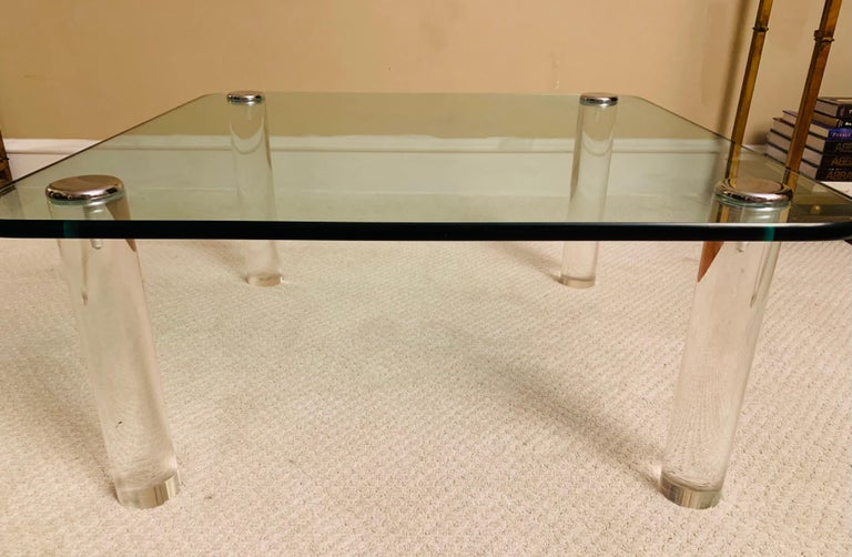 Minimalist Pace Collection Lucite Glass & Chrome Cocktail Table For Sale