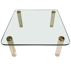 Pace Collection Lucite Glass & Chrome Cocktail Table