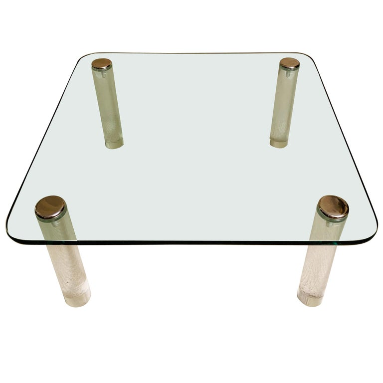 Pace Collection Lucite Glass & Chrome Cocktail Table For Sale