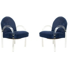 Pace Collection Lucite Waterfall Chairs with Blue Upholstery