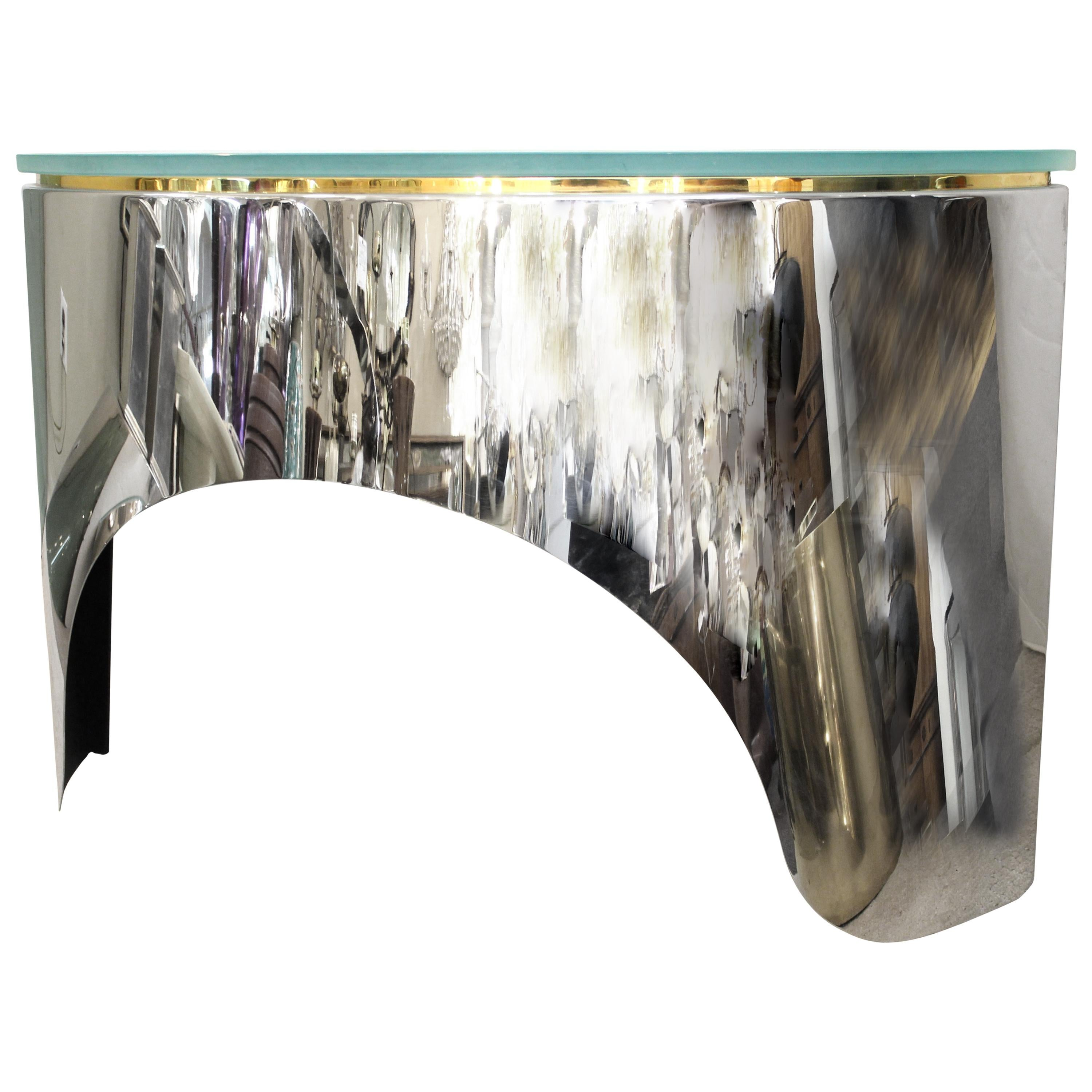 Pace Collection Mid-Century Modern Demi-Lune Sideboard in Metal & Glass