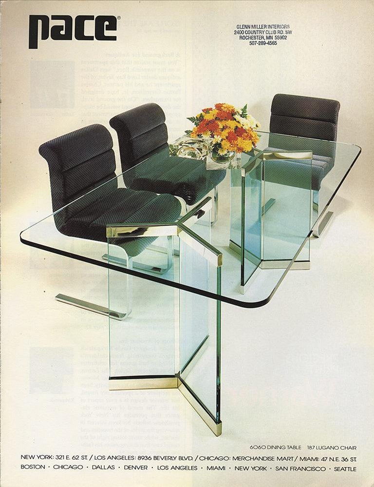Architecturally Minimalist glass and chrome dining table model 6060 designed by I. M. Rosen for The Pace Collection circa 1976. Consists of a pair of pedestal bases under a glass top. Pedestal bases are three slabs of 3/4 inch thick glass set into