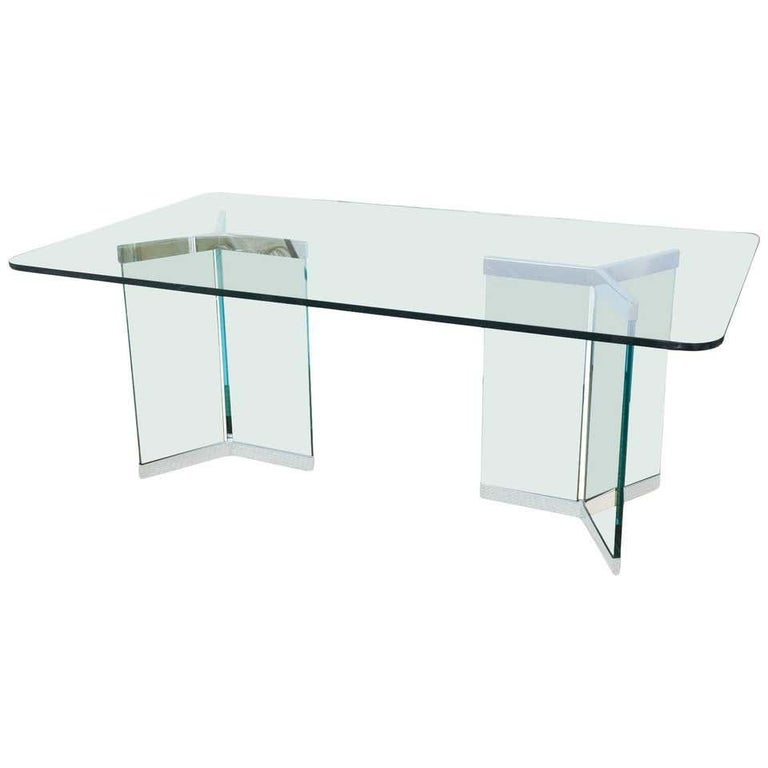 Stainless Steel Pace Collection Model 6060 Dining Table by Irving Rosen For Sale
