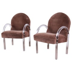 Pace Collection Modern Art Deco Lucite Waterfall Armchairs, Pair