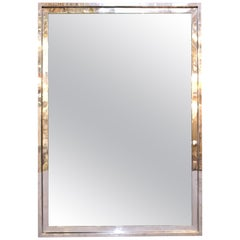 Pace Collection Modern Chromed Metal Frame Mirror