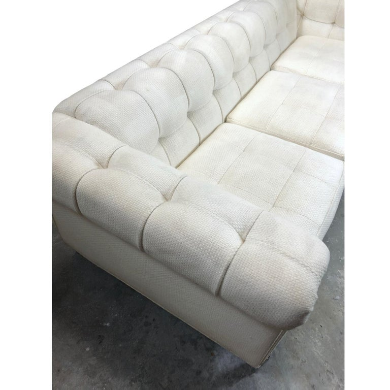 Mid-Century Modern Pace Collection Original White Tufted Tuxedo Sofa on Chrome Legs For Sale