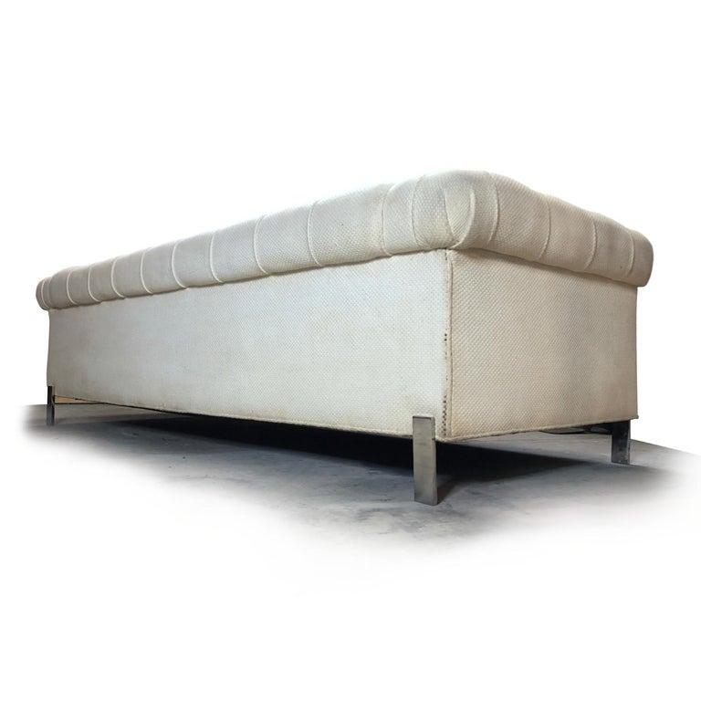 Italian Pace Collection Original White Tufted Tuxedo Sofa on Chrome Legs For Sale