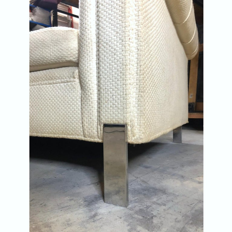 Late 20th Century Pace Collection Original White Tufted Tuxedo Sofa on Chrome Legs For Sale