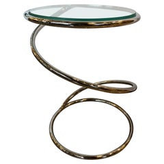"Pace Collection Round Chrome ""Spring"" Shaped with Inset Glass Top Side/End Table"