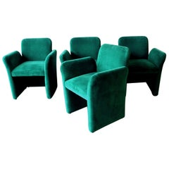 Set of Four Emerald Green Velvet Upholstered Armchairs. Pace, 1980s