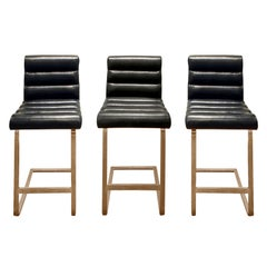 Pace Collection Set of Three Brass Bar Stools with Calf Skin Seats, 1970s