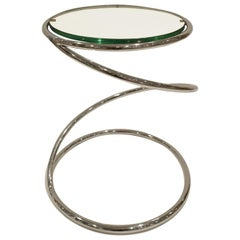 "Pace Collection ""Swirl Table"" in Chrome and Glass, 1970s"