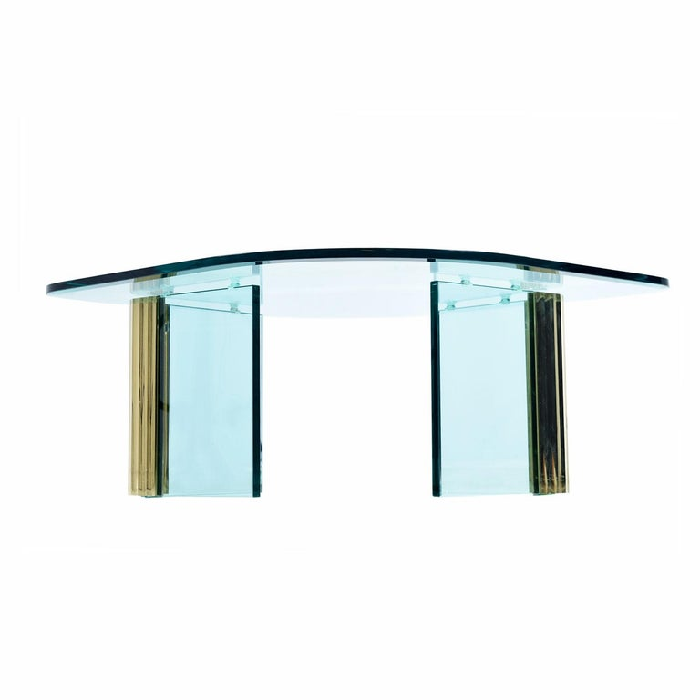 Mid-Century Modern Pace Collection Waterfall Scalloped Brass and Glass Coffee Table by Leon Rosen For Sale