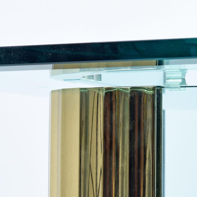 American Pace Collection Waterfall Scalloped Brass and Glass Coffee Table by Leon Rosen For Sale