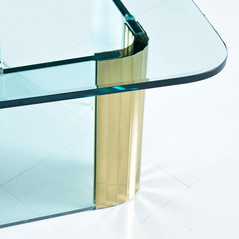 Late 20th Century Pace Collection Waterfall Scalloped Brass and Glass Coffee Table by Leon Rosen For Sale