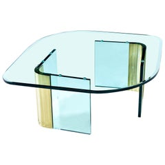 Pace Collection Waterfall Scalloped Brass and Glass Coffee Table by Leon Rosen