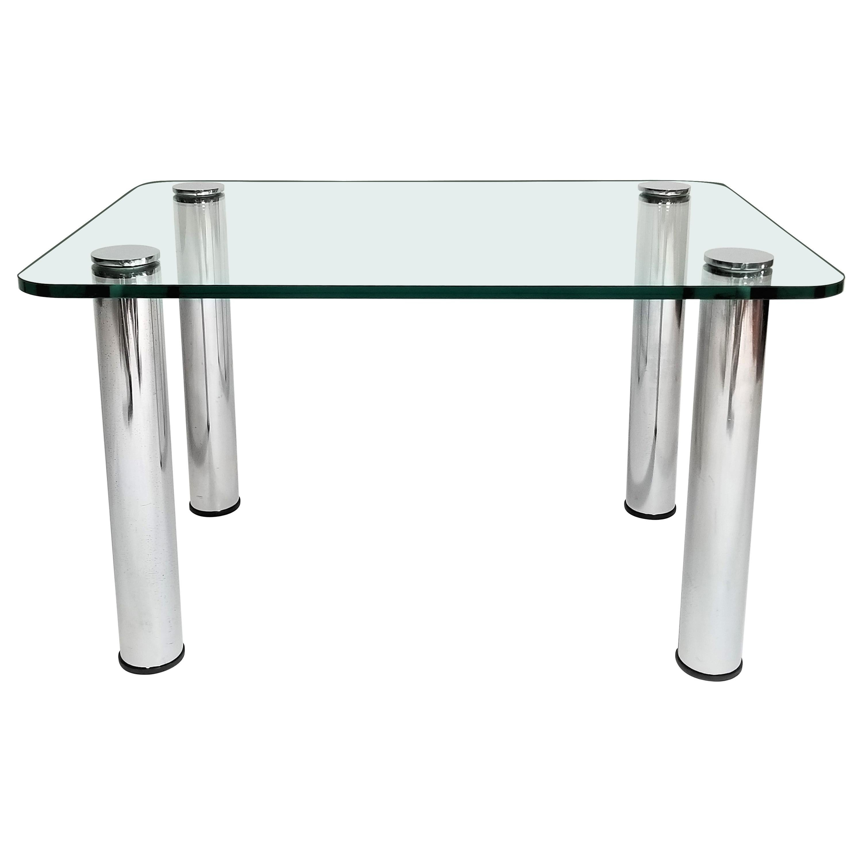 Pace Glass and Chrome Midcentury End Table or Coffee Table