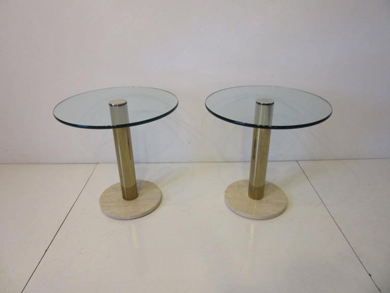 Pace Glass / Marble and Brass Italian Styled Side Tables For Sale 4