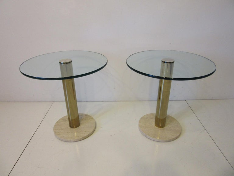 Pace Glass / Marble and Brass Italian Styled Side Tables For Sale 5