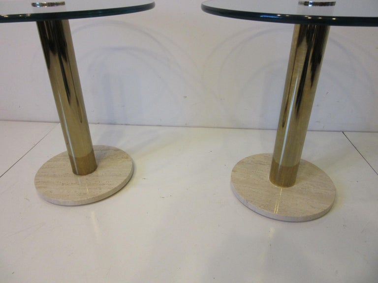 Modern Pace Glass / Marble and Brass Italian Styled Side Tables For Sale