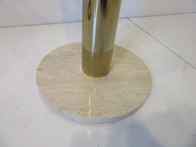 Pace Glass / Marble and Brass Italian Styled Side Tables In Good Condition For Sale In Cincinnati, OH