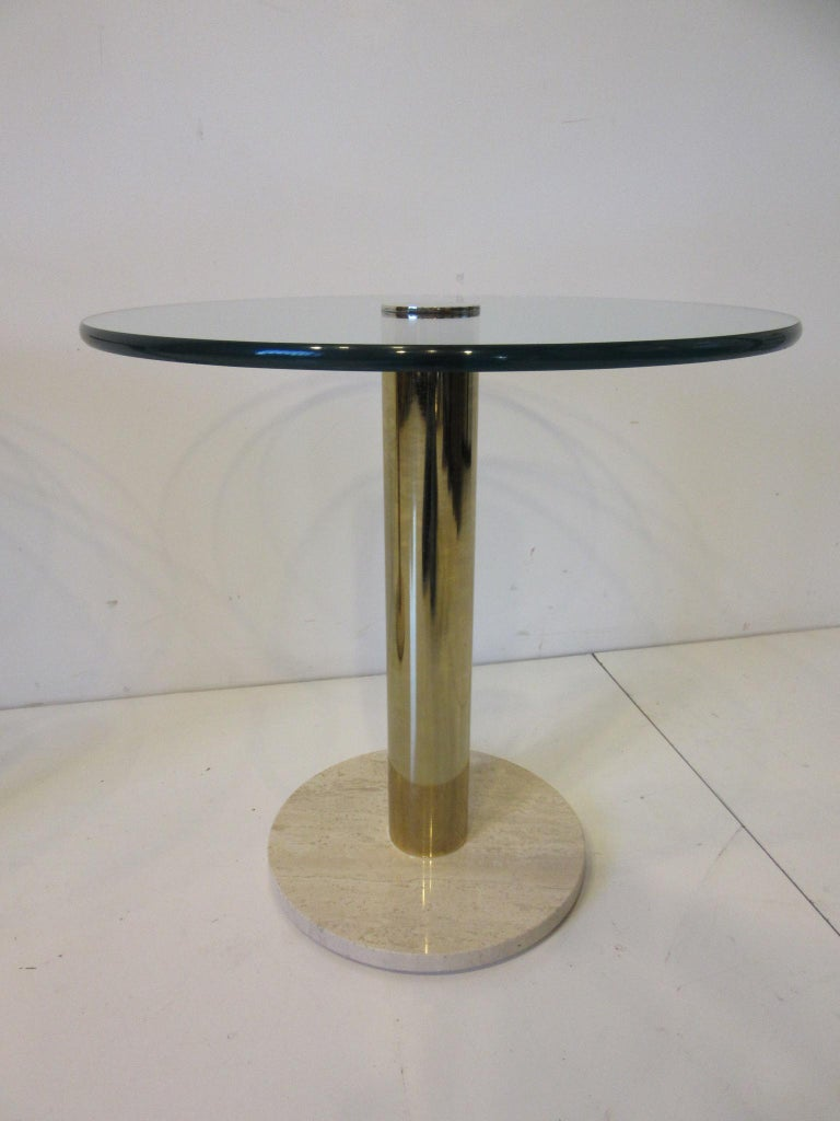 20th Century Pace Glass / Marble and Brass Italian Styled Side Tables For Sale