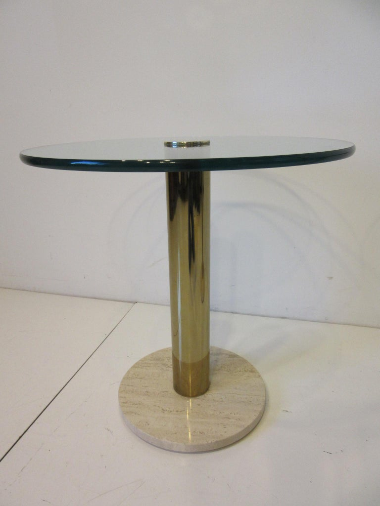 Pace Glass / Marble and Brass Italian Styled Side Tables For Sale 1