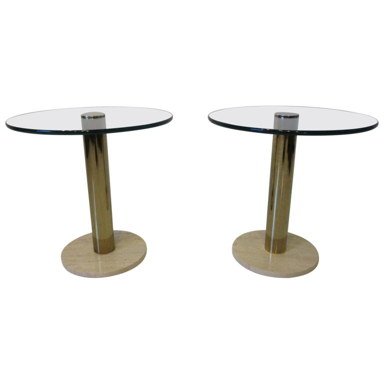 Pace Glass / Marble and Brass Italian Styled Side Tables For Sale
