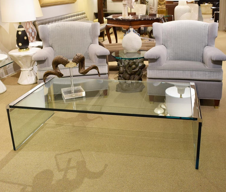 Hand-Crafted Pace Glass Waterfall Coffee Table, 1970s For Sale
