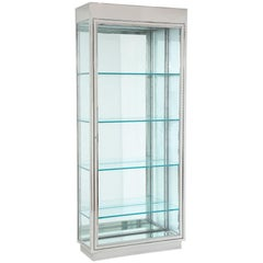 Pace Illuminated Vitrine, Stainless Steel, Glass and Mirror