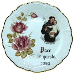Pace in Questa Casa Holy San Antonio Porcelain Plate Tirschenreuth Germany